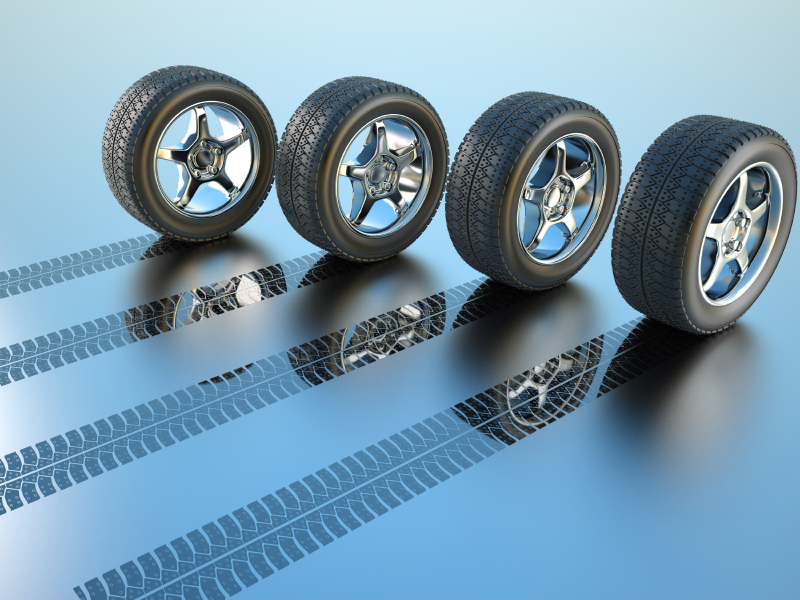 3d rendered illustration of four car wheel making tire track